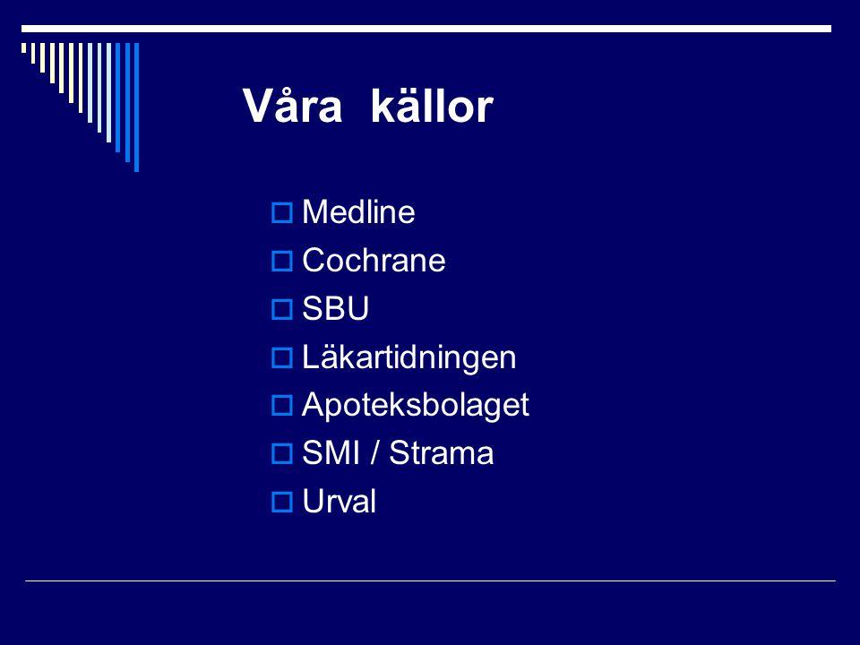 Våra källor  Medline  Cochrane  SBU  Läkartidningen  Apoteksbolaget  SMI / Strama  Urval