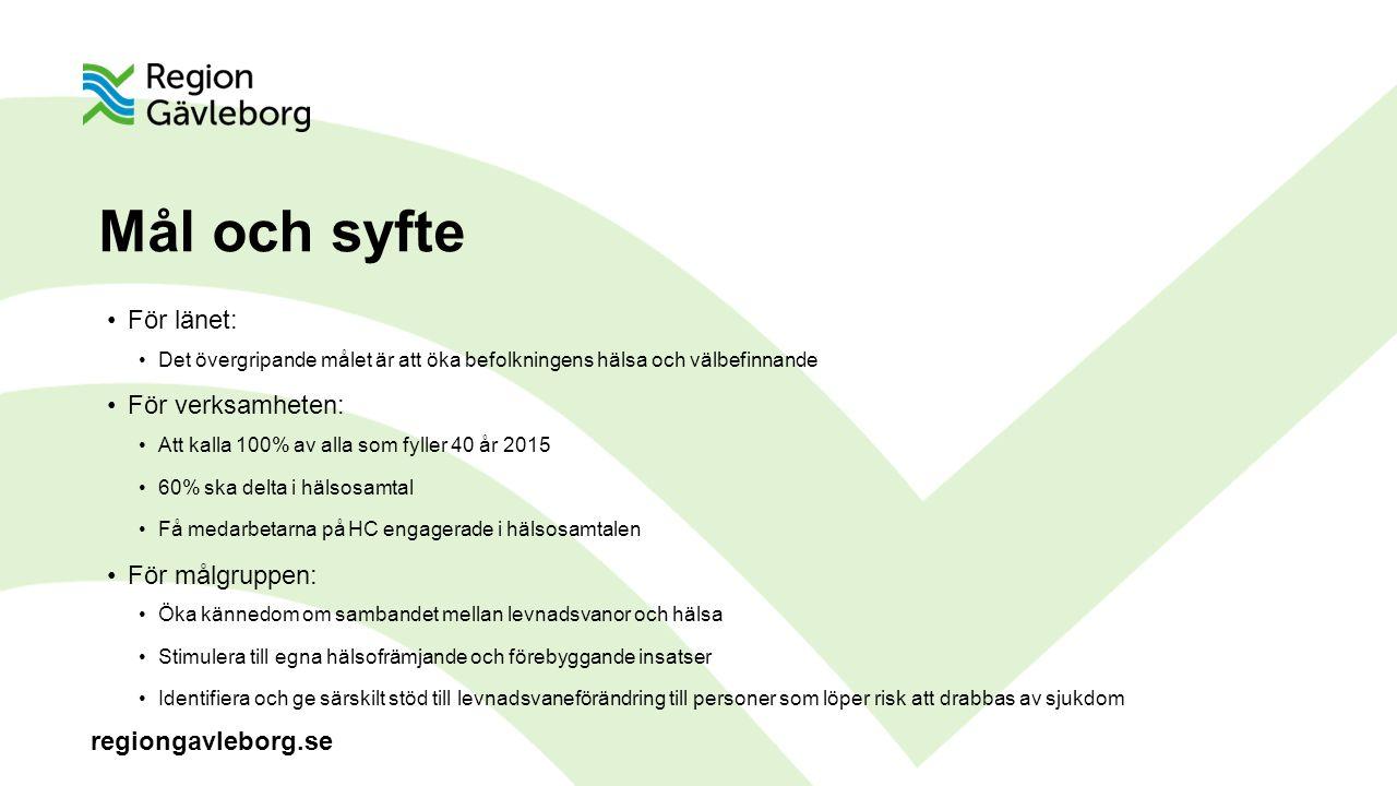regiongavleborg.se Mål och syfte För länet: Det övergripande målet är att öka befolkningens hälsa och välbefinnande För verksamheten: Att kalla 100% av alla som fyller 40 år 2015 60% ska delta i hälsosamtal Få medarbetarna på HC engagerade i hälsosamtalen För målgruppen: Öka kännedom om sambandet mellan levnadsvanor och hälsa Stimulera till egna hälsofrämjande och förebyggande insatser Identifiera och ge särskilt stöd till levnadsvaneförändring till personer som löper risk att drabbas av sjukdom