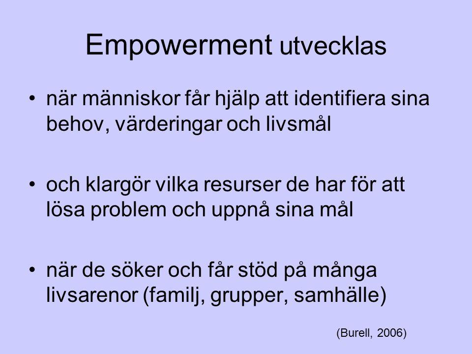 Empowerment utvecklas när människor får hjälp att identifiera sina behov, värderingar och livsmål och klargör vilka resurser de har för att lösa probl