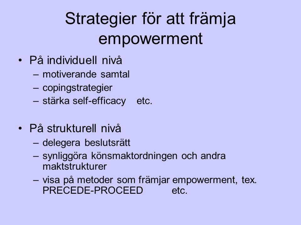 Strategier för att främja empowerment På individuell nivå –motiverande samtal –copingstrategier –stärka self-efficacy etc. På strukturell nivå –delege