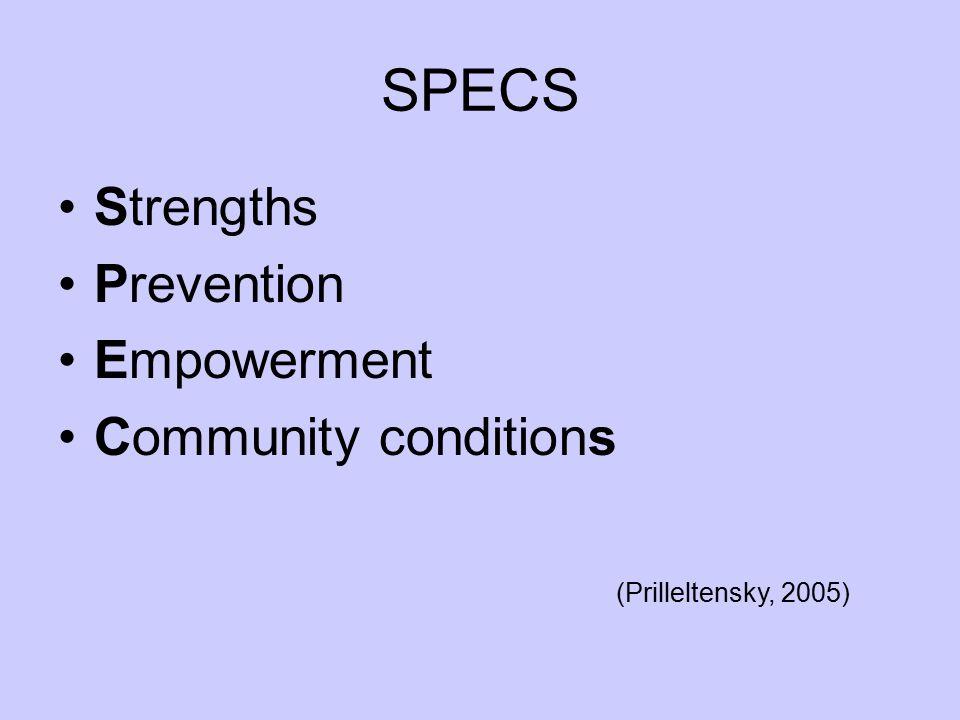 SPECS Strengths Prevention Empowerment Community conditions (Prilleltensky, 2005)