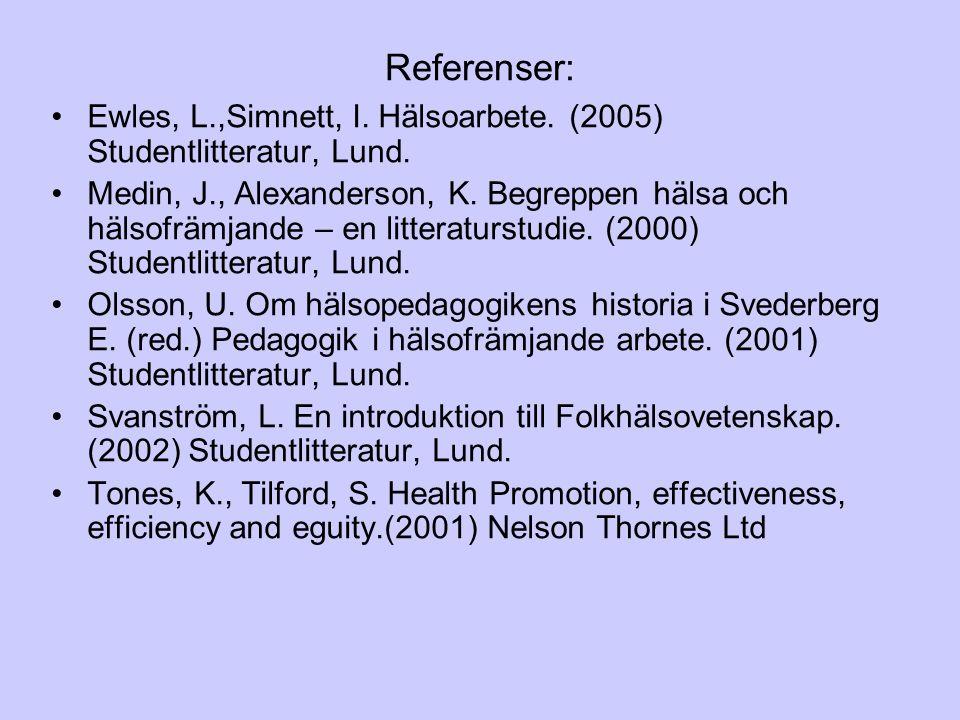 Referenser: Ewles, L.,Simnett, I. Hälsoarbete. (2005) Studentlitteratur, Lund. Medin, J., Alexanderson, K. Begreppen hälsa och hälsofrämjande – en lit
