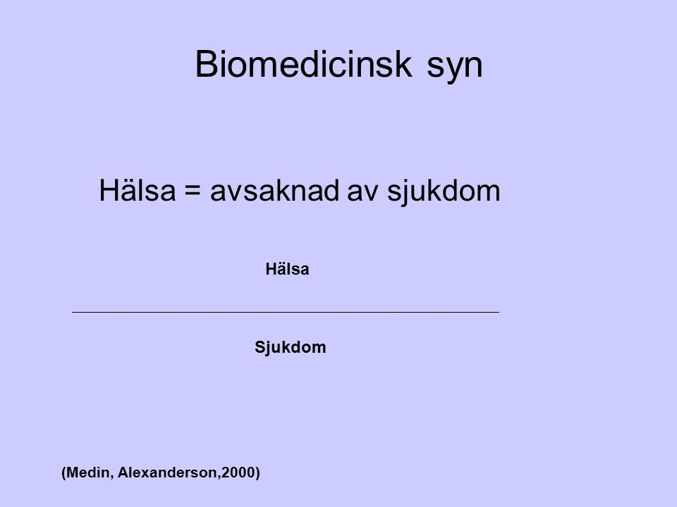 Biomedicinsk syn Hälsa = avsaknad av sjukdom Hälsa Sjukdom (Medin, Alexanderson,2000)