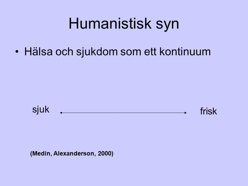 Humanistisk syn Hälsa och sjukdom som ett kontinuum sjuk frisk (Medin, Alexanderson, 2000)