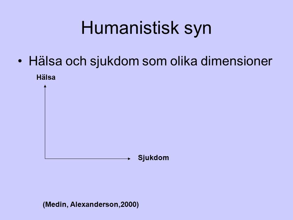 Humanistisk syn Hälsa och sjukdom som olika dimensioner Hälsa Sjukdom (Medin, Alexanderson,2000)