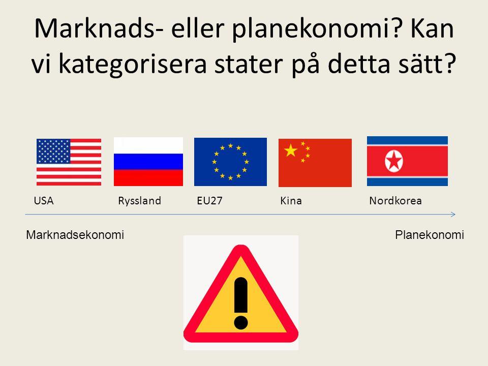Marknads- eller planekonomi? Kan vi kategorisera stater på detta sätt? USA Ryssland EU27 Kina Nordkorea MarknadsekonomiPlanekonomi
