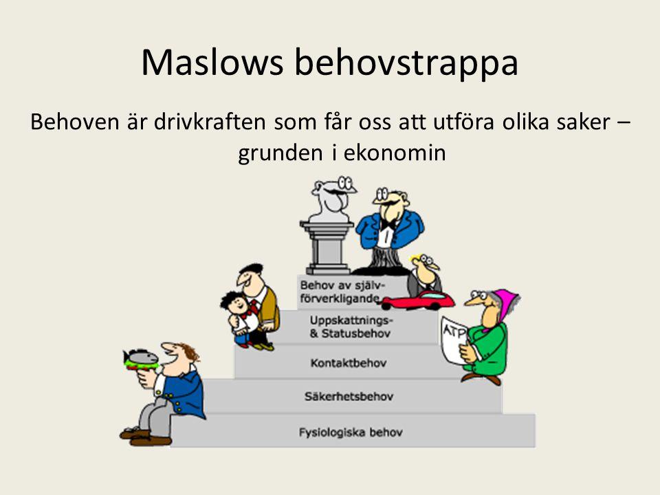 Maslows behovstrappa Behoven är drivkraften som får oss att utföra olika saker – grunden i ekonomin