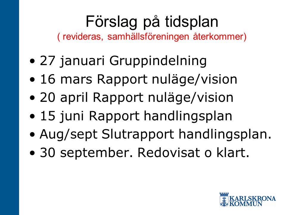 Förslag på tidsplan ( revideras, samhällsföreningen återkommer) 27 januari Gruppindelning 16 mars Rapport nuläge/vision 20 april Rapport nuläge/vision