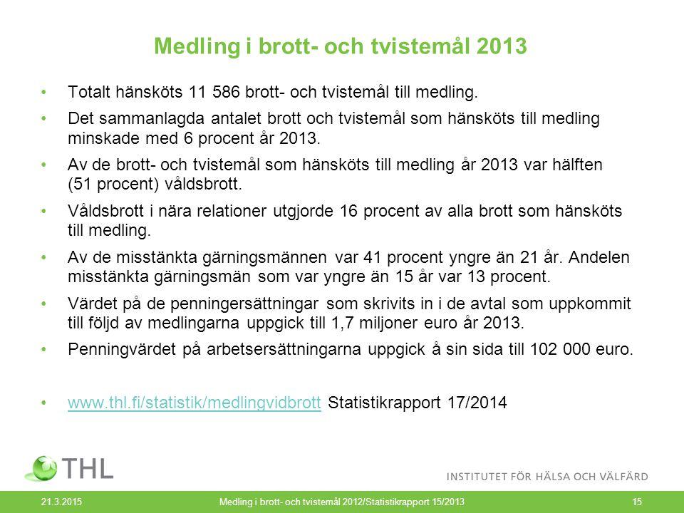Medling i brott- och tvistemål 2013 21.3.2015Medling i brott- och tvistemål 2012/Statistikrapport 15/201315 Totalt hänsköts 11 586 brott- och tvistemå