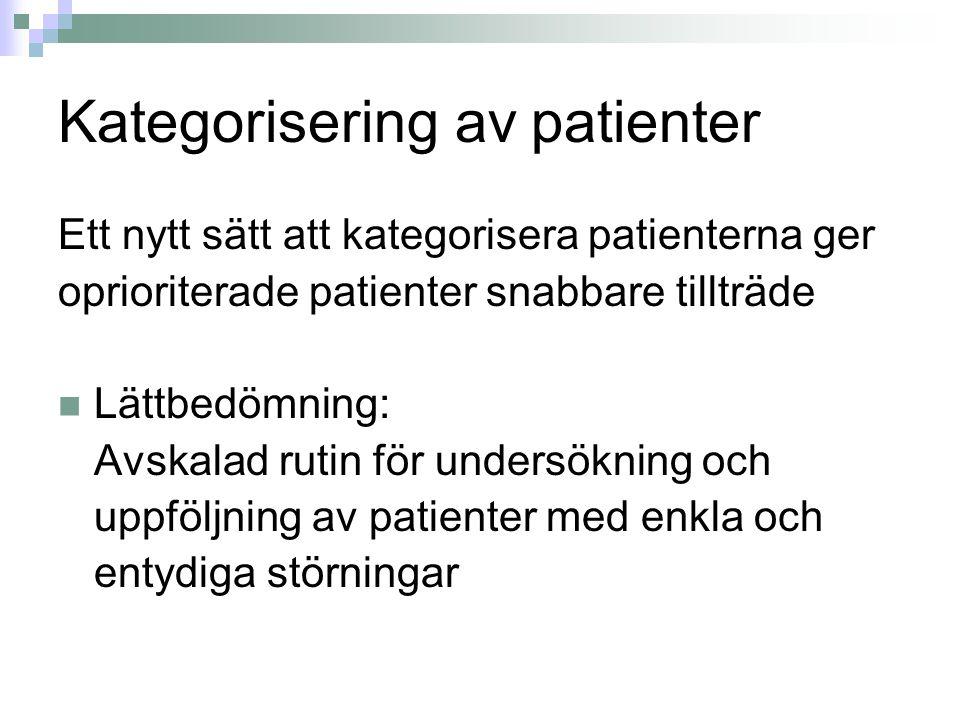 Kategorisering av patienter Ett nytt sätt att kategorisera patienterna ger oprioriterade patienter snabbare tillträde Lättbedömning: Avskalad rutin för undersökning och uppföljning av patienter med enkla och entydiga störningar