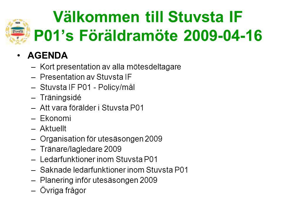 Välkommen till Stuvsta IF P01's Föräldramöte 2009-04-16 AGENDA –Kort presentation av alla mötesdeltagare –Presentation av Stuvsta IF –Stuvsta IF P01 -