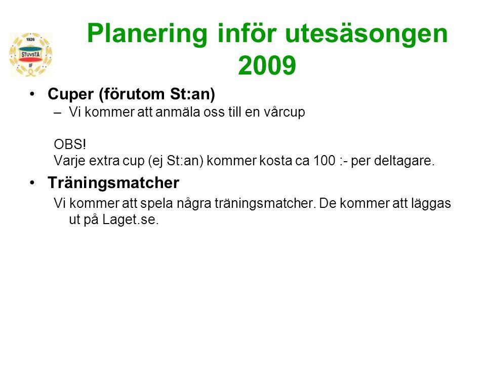 Planering inför utesäsongen 2009 Cuper (förutom St:an) –Vi kommer att anmäla oss till en vårcup OBS! Varje extra cup (ej St:an) kommer kosta ca 100 :-