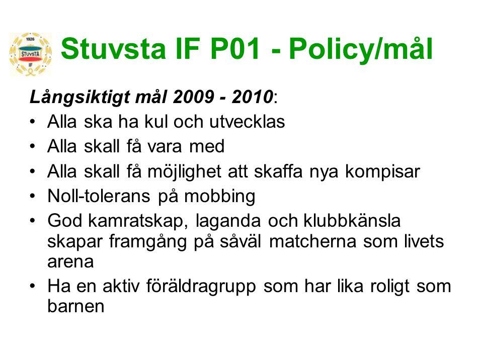 Stuvsta IF P01 - Policy/mål Långsiktigt mål 2009 - 2010: Alla ska ha kul och utvecklas Alla skall få vara med Alla skall få möjlighet att skaffa nya k