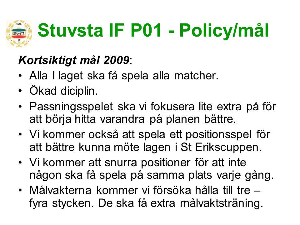 Stuvsta IF P01 - Policy/mål Kortsiktigt mål 2009: Alla I laget ska få spela alla matcher. Ökad diciplin. Passningsspelet ska vi fokusera lite extra på