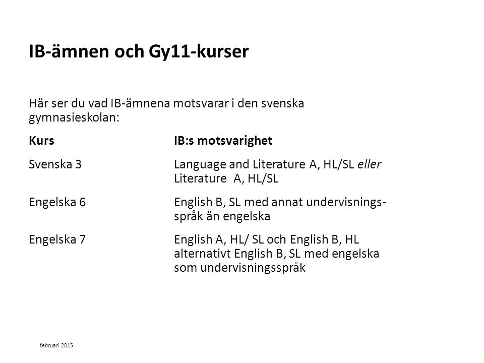 Sv Här ser du vad IB-ämnena motsvarar i den svenska gymnasieskolan: Kurs IB:s motsvarighet Svenska 3 Language and Literature A, HL/SL eller Literature A, HL/SL Engelska 6 English B, SL med annat undervisnings- språk än engelska Engelska 7 English A, HL/ SL och English B, HL alternativt English B, SL med engelska som undervisningsspråk IB-ämnen och Gy11-kurser februari 2015