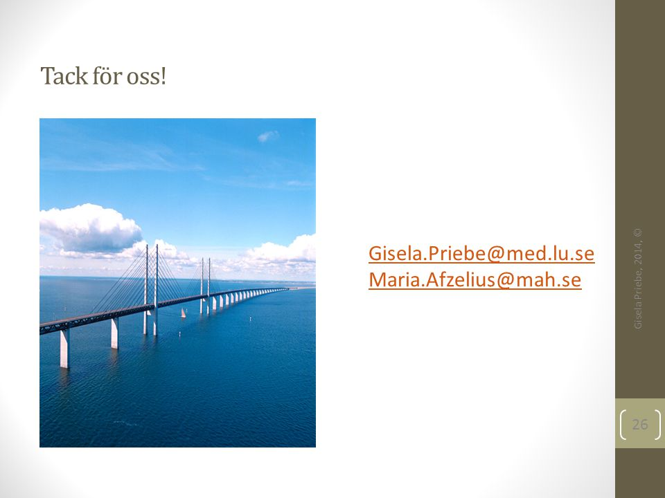 Tack för oss! Gisela Priebe, 2014, © 26 Gisela.Priebe@med.lu.se Maria.Afzelius@mah.se