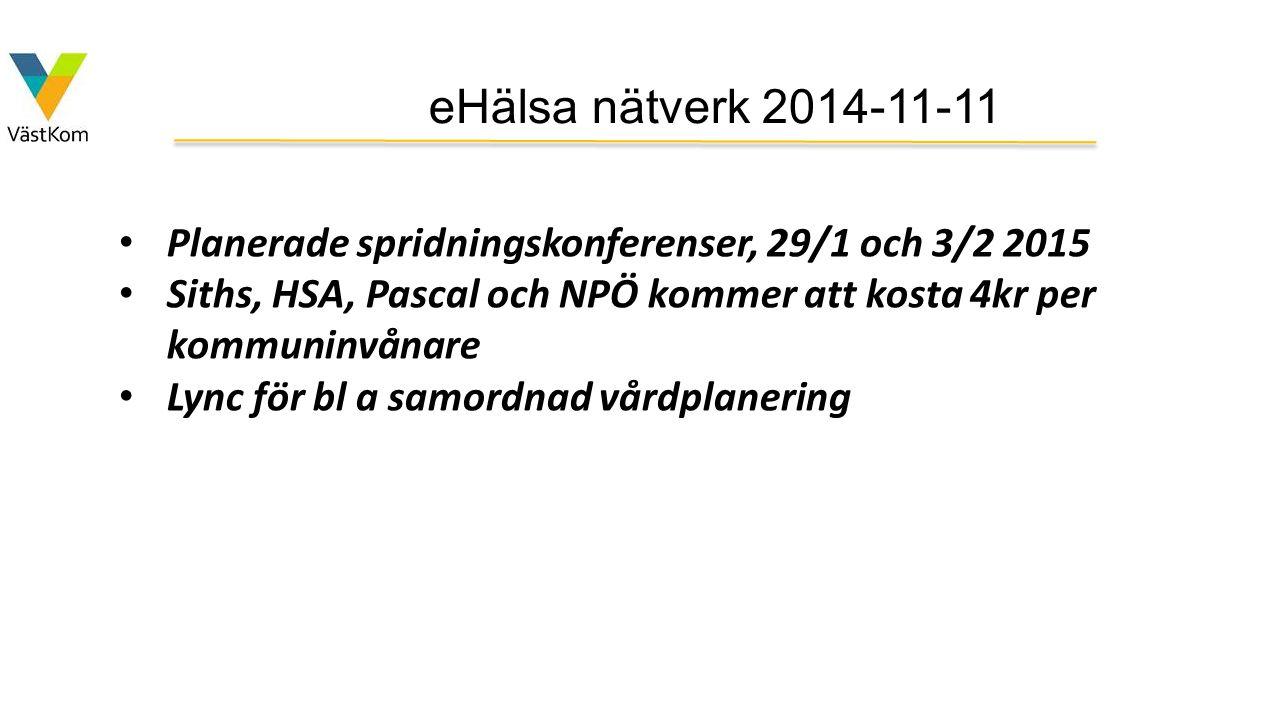 eHälsa nätverk 2014-11-11 Planerade spridningskonferenser, 29/1 och 3/2 2015 Siths, HSA, Pascal och NPÖ kommer att kosta 4kr per kommuninvånare Lync f