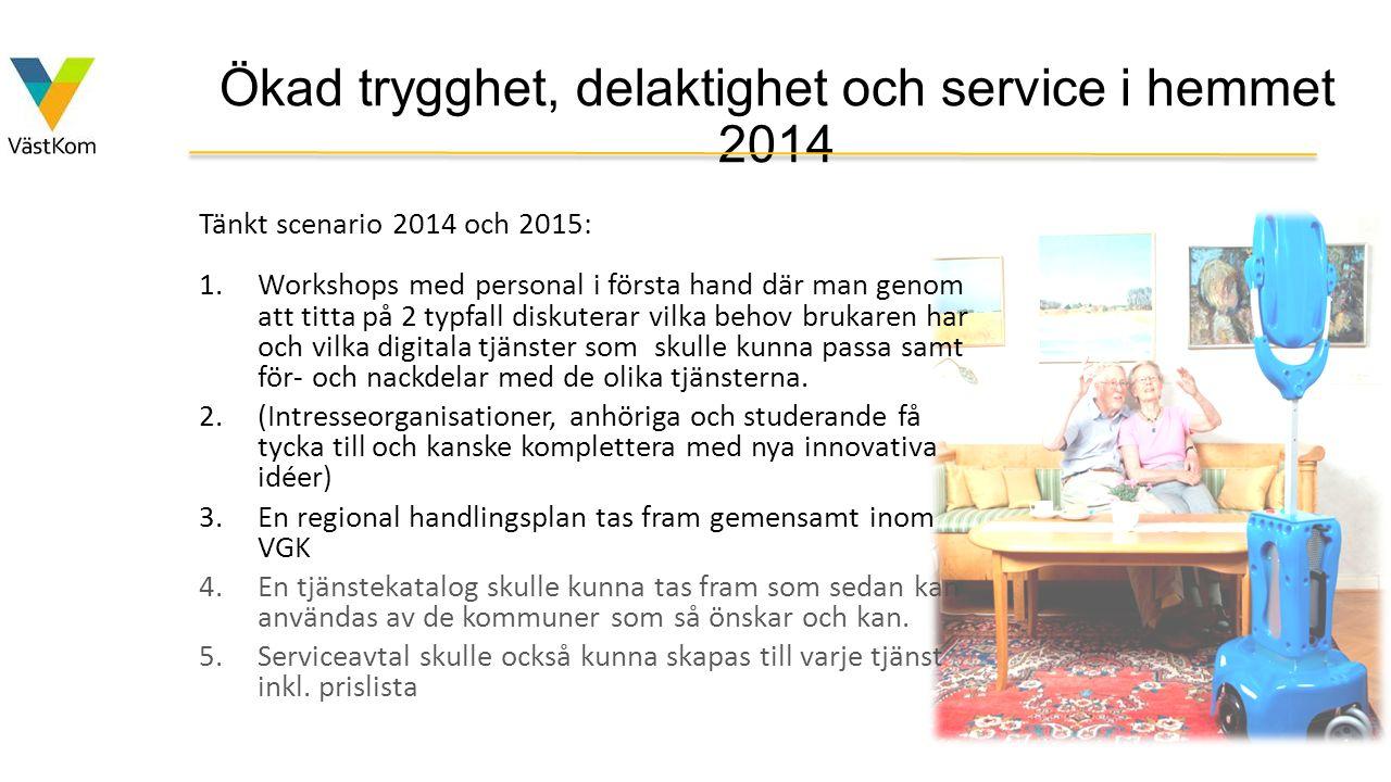 Ökad trygghet, delaktighet och service i hemmet 2014 Tänkt scenario 2014 och 2015: 1.Workshops med personal i första hand där man genom att titta på 2