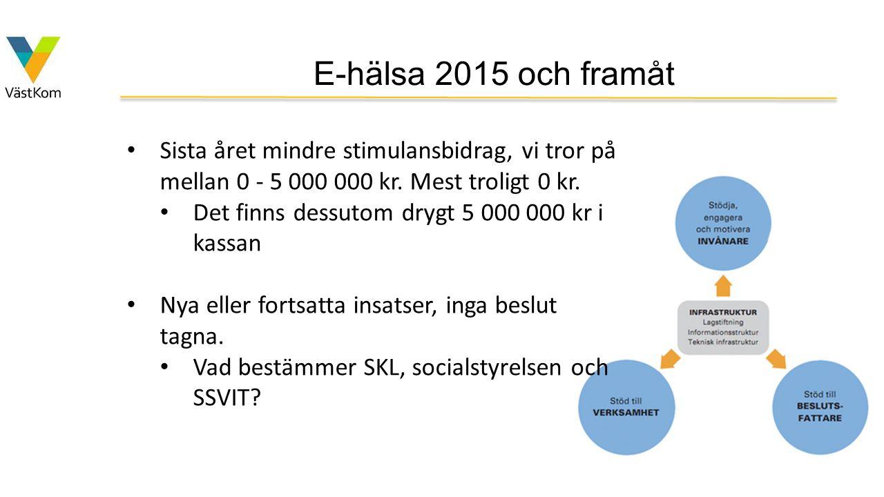 E-hälsa 2015 och framåt Sista året mindre stimulansbidrag, vi tror på mellan 0 - 5 000 000 kr. Mest troligt 0 kr. Det finns dessutom drygt 5 000 000 k