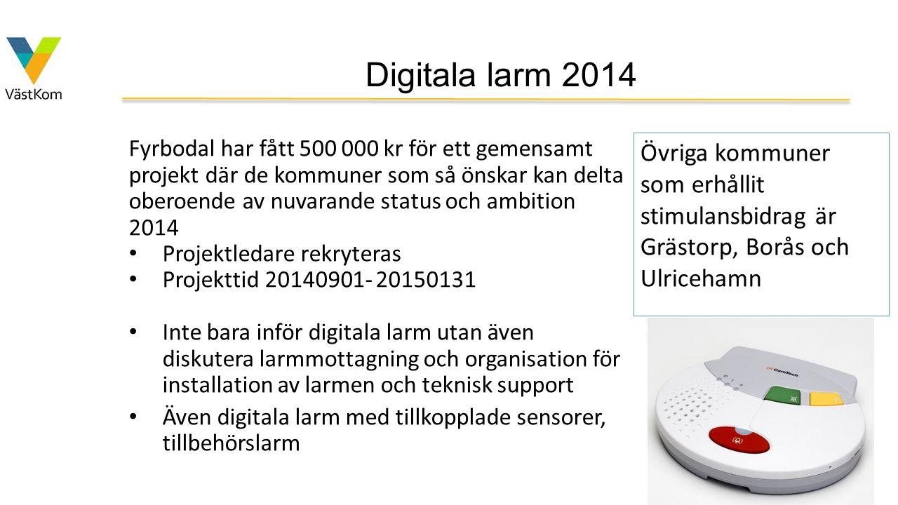 Digitala larm 2014 Fyrbodal har fått 500 000 kr för ett gemensamt projekt där de kommuner som så önskar kan delta oberoende av nuvarande status och am