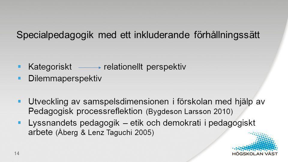  Kategoriskt relationellt perspektiv  Dilemmaperspektiv  Utveckling av samspelsdimensionen i förskolan med hjälp av Pedagogisk processreflektion (B