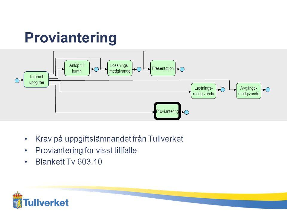 Proviantering Krav på uppgiftslämnandet från Tullverket Proviantering för visst tillfälle Blankett Tv 603.10 Ta emot uppgifter Proviantering Anlöp til