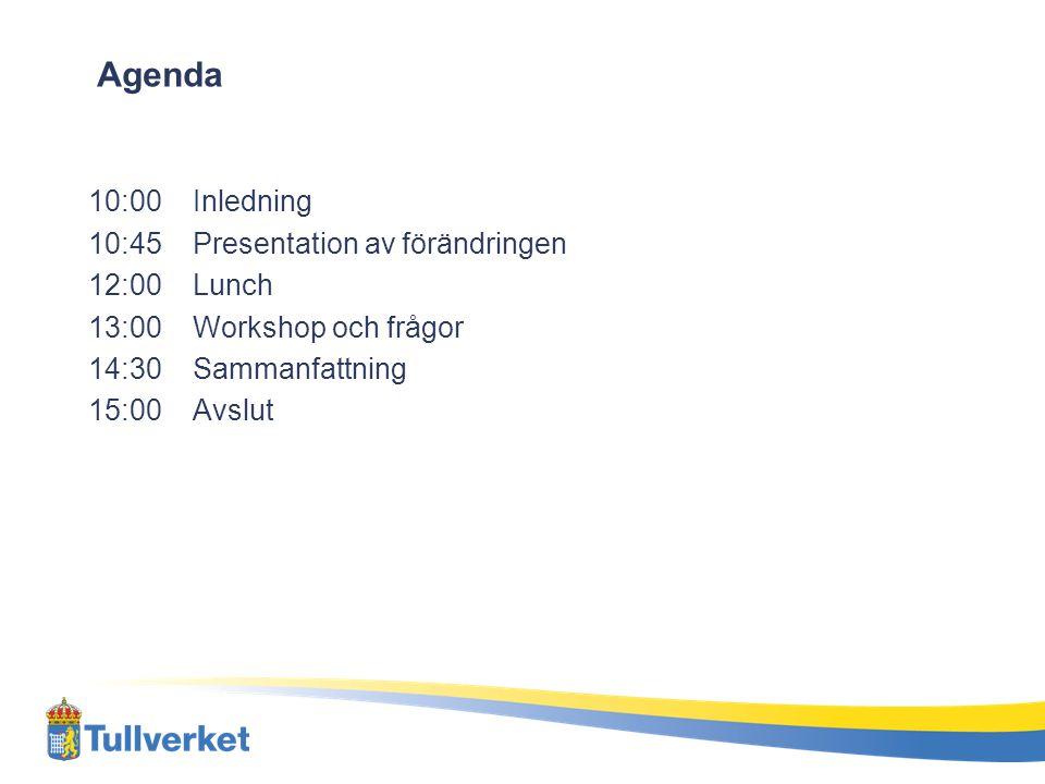 Agenda 10:00Inledning 10:45Presentation av förändringen 12:00Lunch 13:00Workshop och frågor 14:30 Sammanfattning 15:00 Avslut
