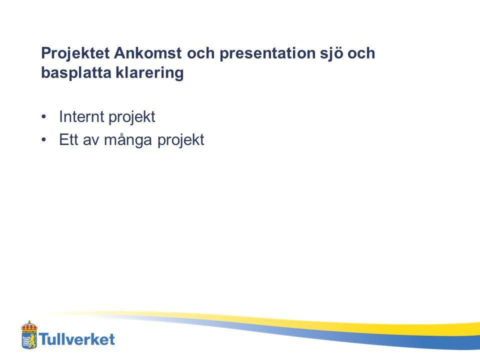 Projektet Ankomst och presentation sjö och basplatta klarering Internt projekt Ett av många projekt