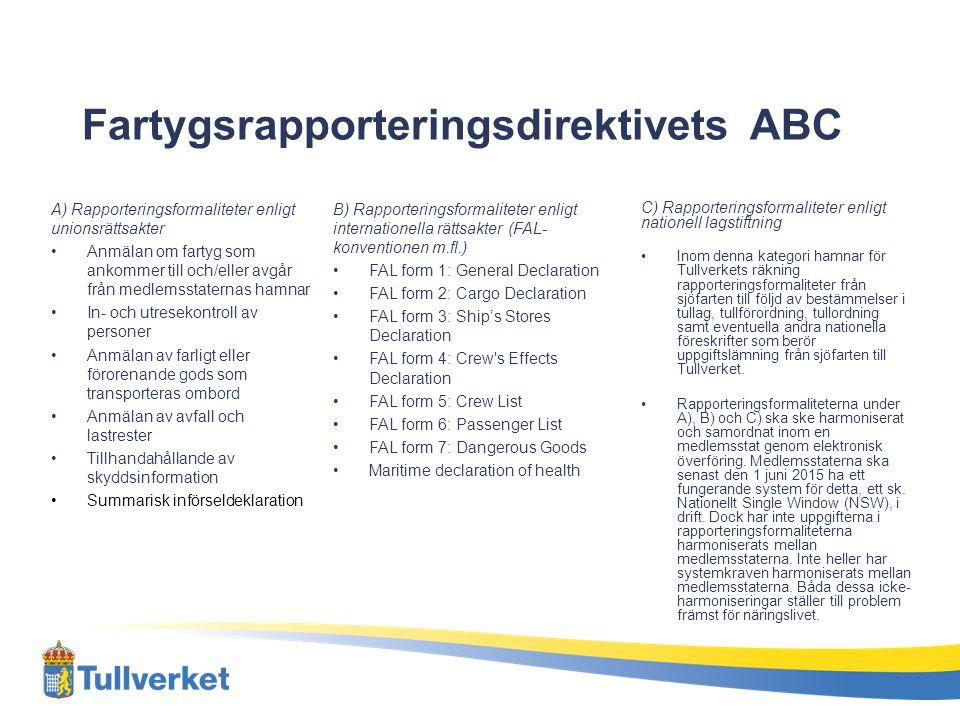 Fartygsrapporteringsdirektivets ABC A) Rapporteringsformaliteter enligt unionsrättsakter Anmälan om fartyg som ankommer till och/eller avgår från medl