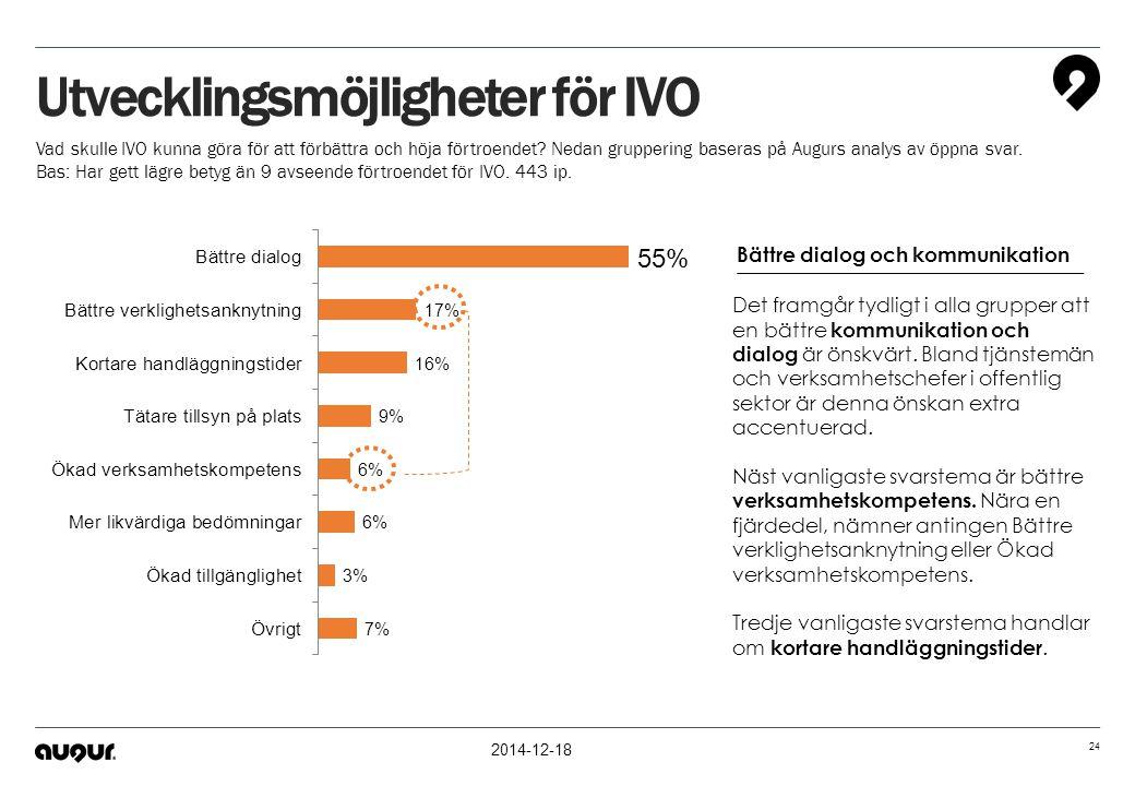 2014-12-18 24 Utvecklingsmöjligheter för IVO Vad skulle IVO kunna göra för att förbättra och höja förtroendet? Nedan gruppering baseras på Augurs anal