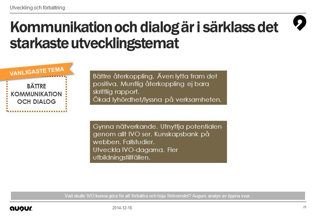 Kommunikation och dialog är i särklass det starkaste utvecklingstemat Utveckling och förbättring 2014-12-18 25 Vad skulle IVO kunna göra för att förbä