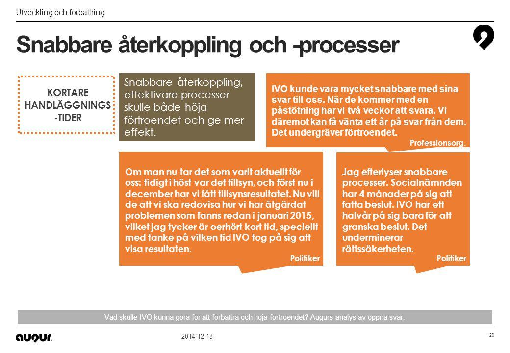 Snabbare återkoppling och -processer Utveckling och förbättring 2014-12-18 29 Vad skulle IVO kunna göra för att förbättra och höja förtroendet? Augurs