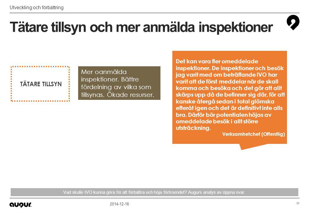 Tätare tillsyn och mer anmälda inspektioner Utveckling och förbättring 2014-12-18 30 Vad skulle IVO kunna göra för att förbättra och höja förtroendet?