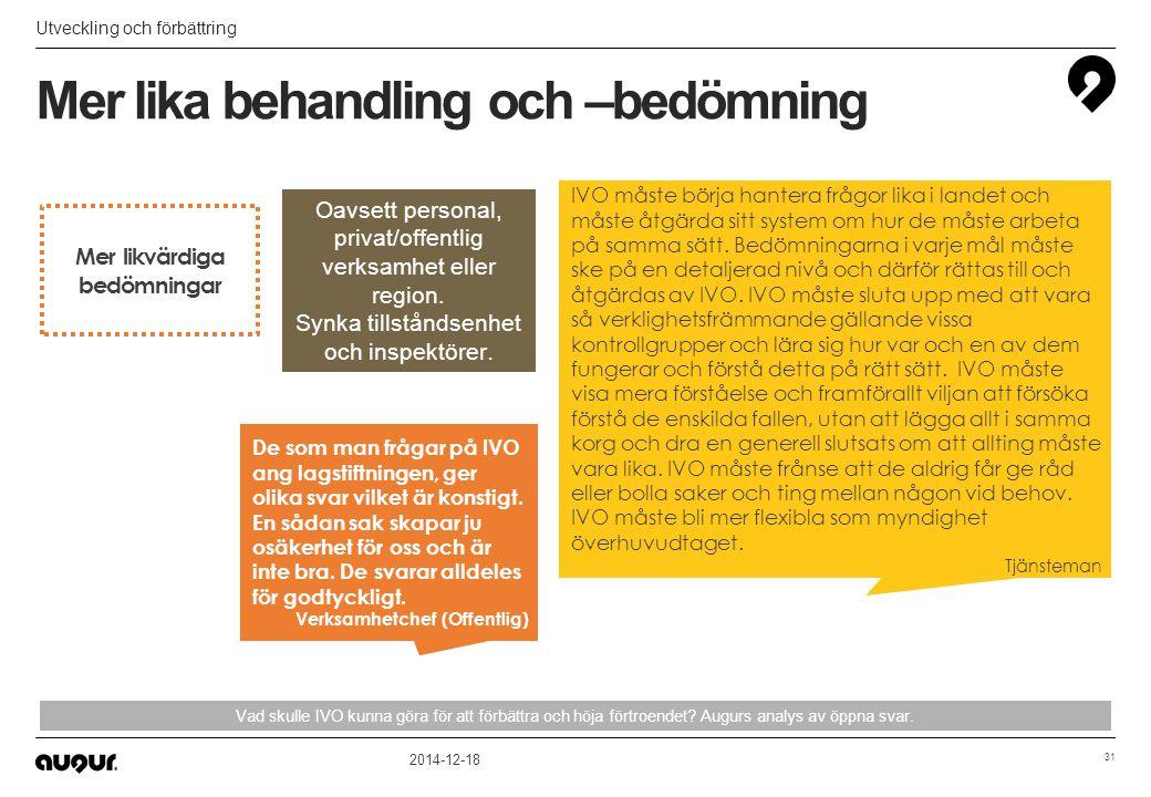 Mer lika behandling och –bedömning Utveckling och förbättring 2014-12-18 31 Vad skulle IVO kunna göra för att förbättra och höja förtroendet? Augurs a