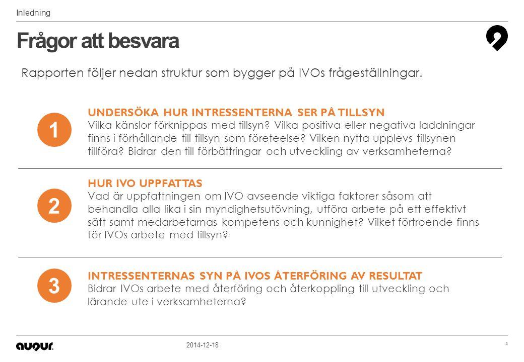 2014-12-18 15 6,6 6,7 6,9 7,5 6,8 Medel Nyttan av IVO:s arbete I vilken grad tycker du att IVO:s arbete med tillsyn gör nytta.