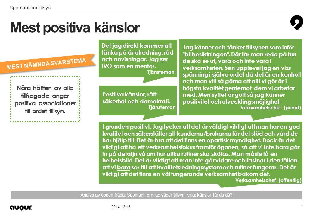 Tätare tillsyn och mer anmälda inspektioner Utveckling och förbättring 2014-12-18 30 Vad skulle IVO kunna göra för att förbättra och höja förtroendet.