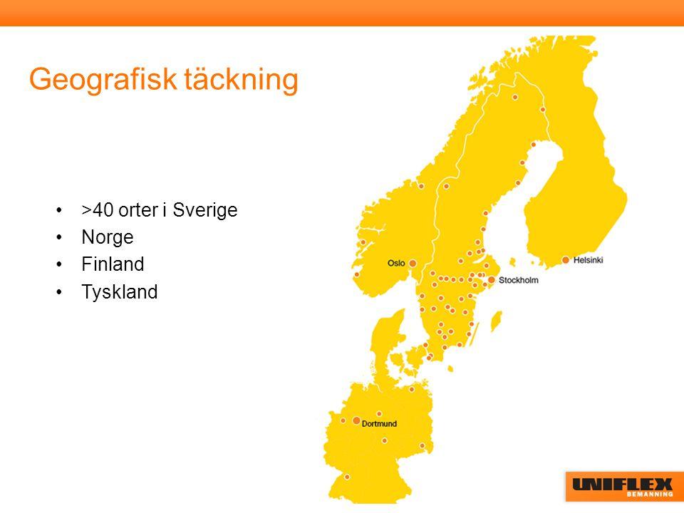 Bemanningsbranschen 2013 Storlek och penetrationsgrad i de länder Uniflex är verksamt Källa: Bemanningsföretagen SverigeNorgeFinland Tyskland Omsättning21 mdkr 15,4 mdkr*10,5 mdkr* 150 mdkr* Penetrationsgrad1,3 %1,0 %*1,2 %* 2,2%* *2012