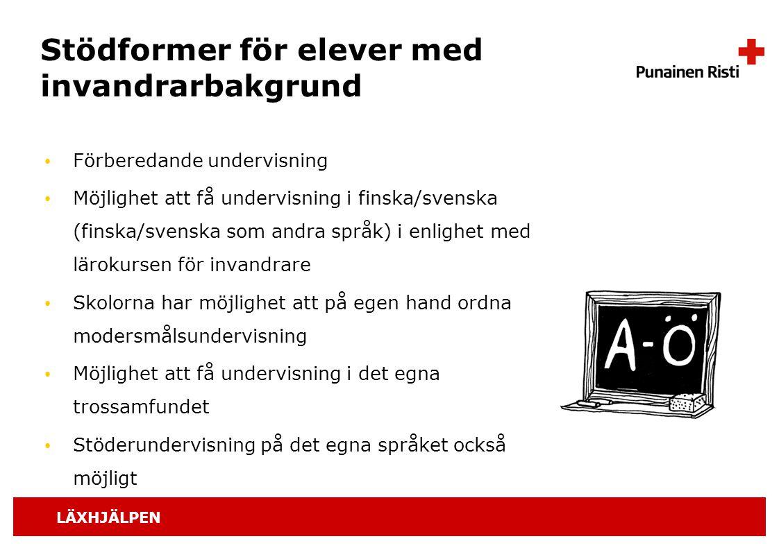 LÄXHJÄLPEN Stödformer för elever med invandrarbakgrund Förberedande undervisning Möjlighet att få undervisning i finska/svenska (finska/svenska som an
