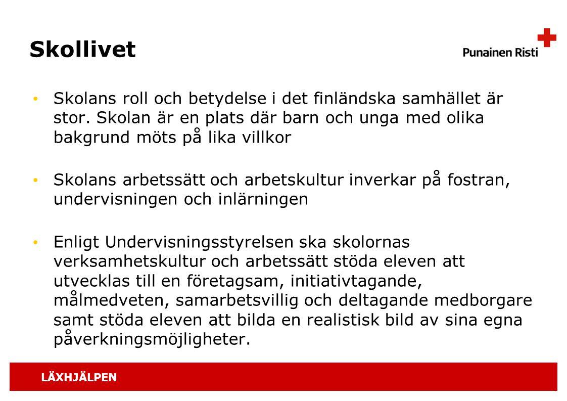 LÄXHJÄLPEN Skollivet Skolans roll och betydelse i det finländska samhället är stor. Skolan är en plats där barn och unga med olika bakgrund möts på li