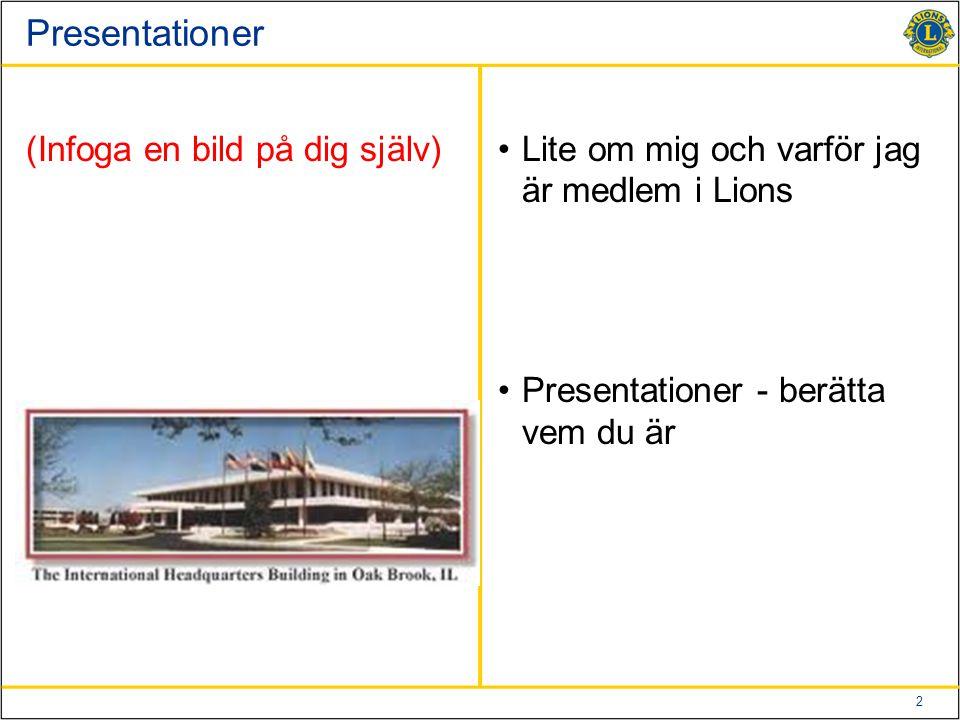 2 Presentationer (Infoga en bild på dig själv)Lite om mig och varför jag är medlem i Lions Presentationer - berätta vem du är