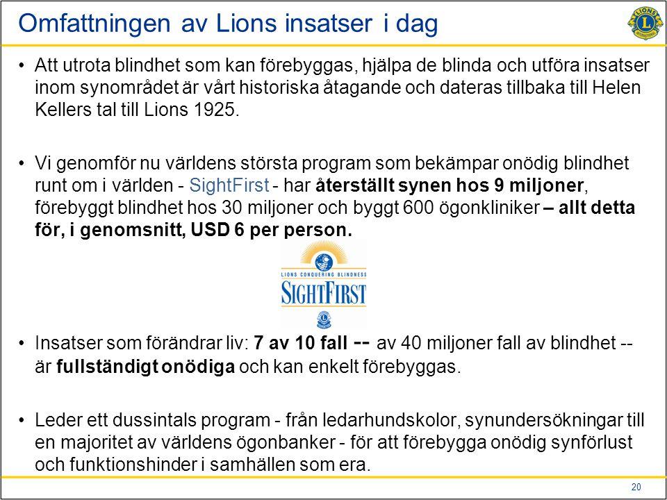 20 Omfattningen av Lions insatser i dag Att utrota blindhet som kan förebyggas, hjälpa de blinda och utföra insatser inom synområdet är vårt historisk