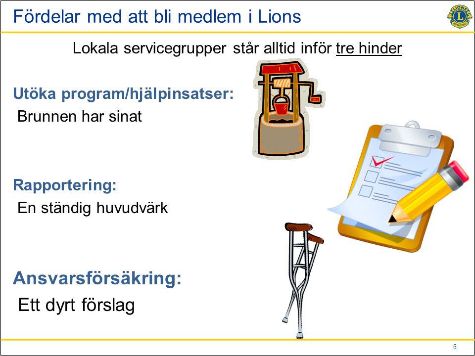 6 Fördelar med att bli medlem i Lions Lokala servicegrupper står alltid inför tre hinder Utöka program/hjälpinsatser: Brunnen har sinat Rapportering: En ständig huvudvärk Ansvarsförsäkring: Ett dyrt förslag