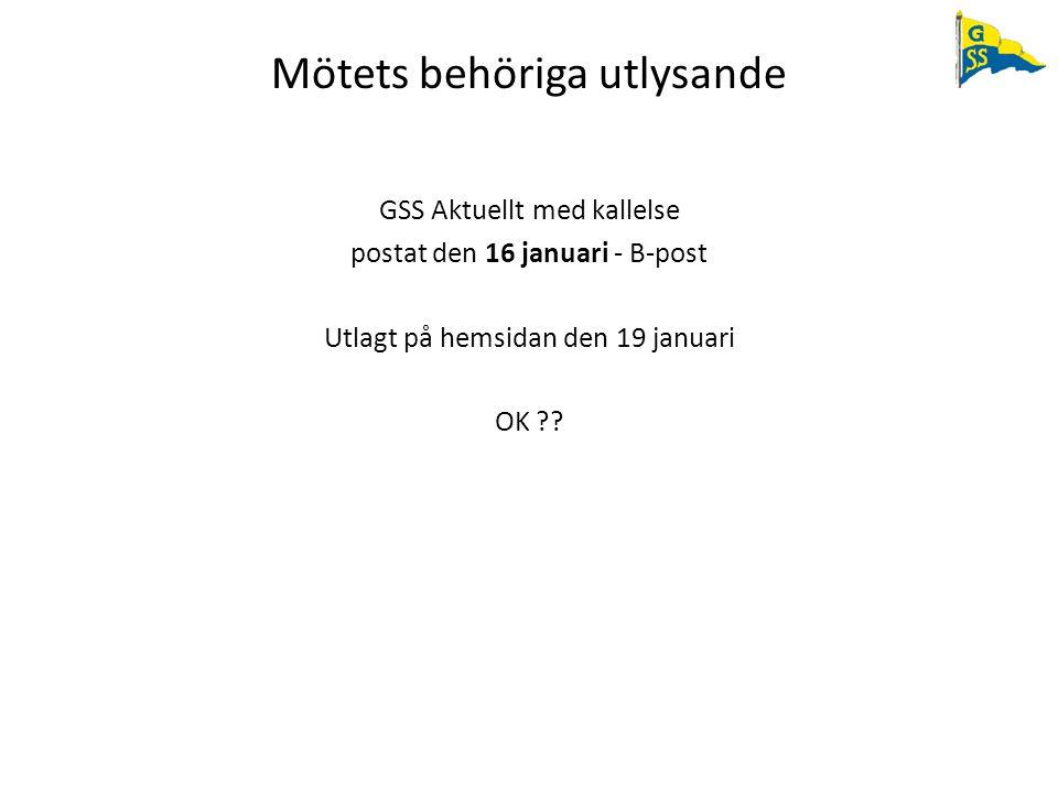 Mötets behöriga utlysande GSS Aktuellt med kallelse postat den 16 januari - B-post Utlagt på hemsidan den 19 januari OK ??