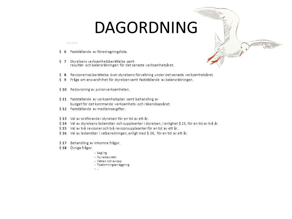 DAGORDNING … … … § 6Fastställande av föredragningslista. § 7Styrelsens verksamhetsberättelse samt resultat‐ och balansräkningen för det senaste verksa