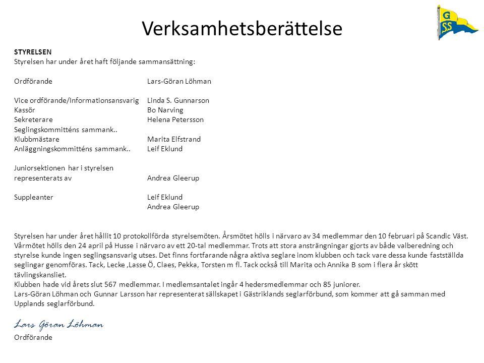 Verksamhetsberättelse STYRELSEN Styrelsen har under året haft följande sammansättning: OrdförandeLars-Göran Löhman Vice ordförande/Informationsansvari