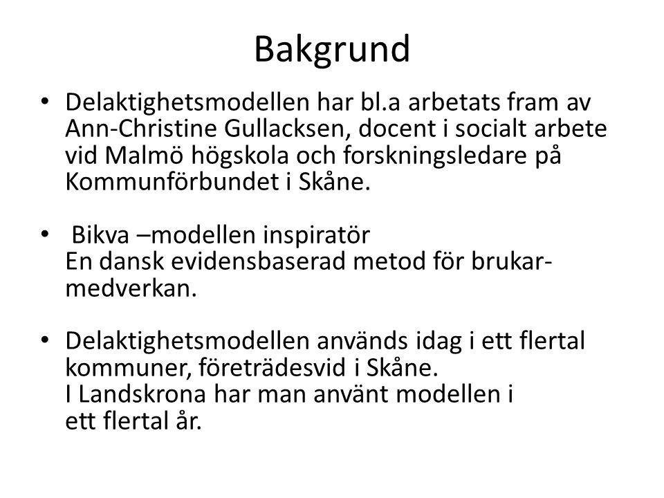 Bakgrund Delaktighetsmodellen har bl.a arbetats fram av Ann-Christine Gullacksen, docent i socialt arbete vid Malmö högskola och forskningsledare på K