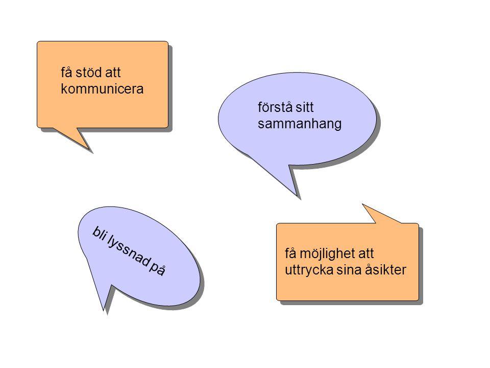 få stöd att kommunicera förstå sitt sammanhang få möjlighet att uttrycka sina åsikter bli lyssnad på