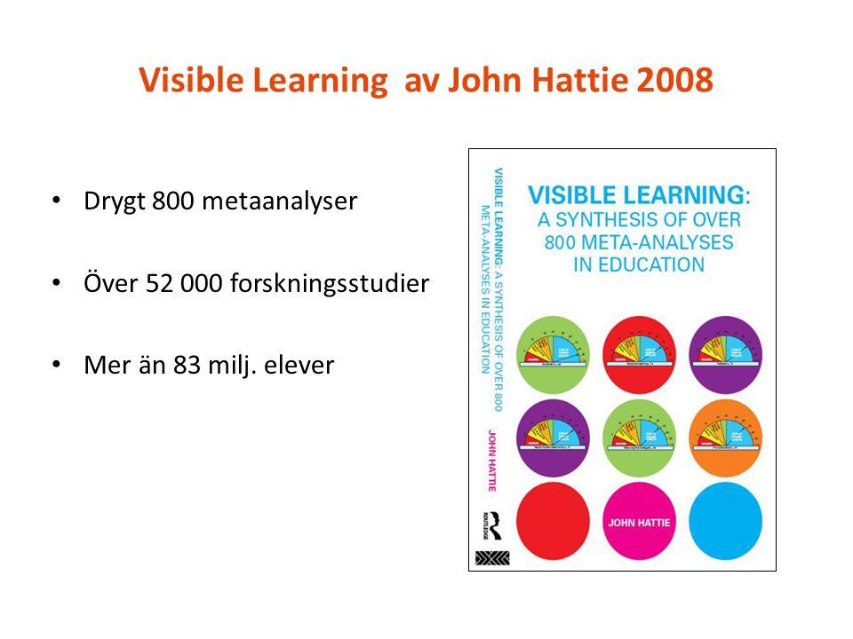 Visible Learning av John Hattie 2008 Drygt 800 metaanalyser Över 52 000 forskningsstudier Mer än 83 milj. elever