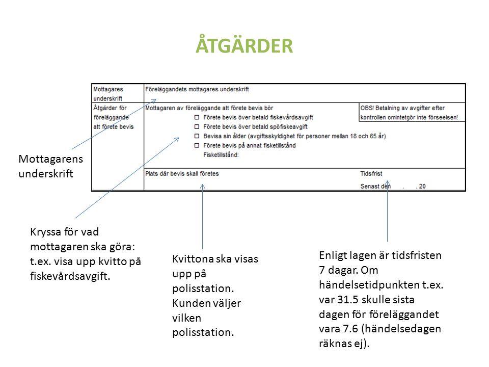 ÅTGÄRDER Mottagarens underskrift Kryssa för vad mottagaren ska göra: t.ex.