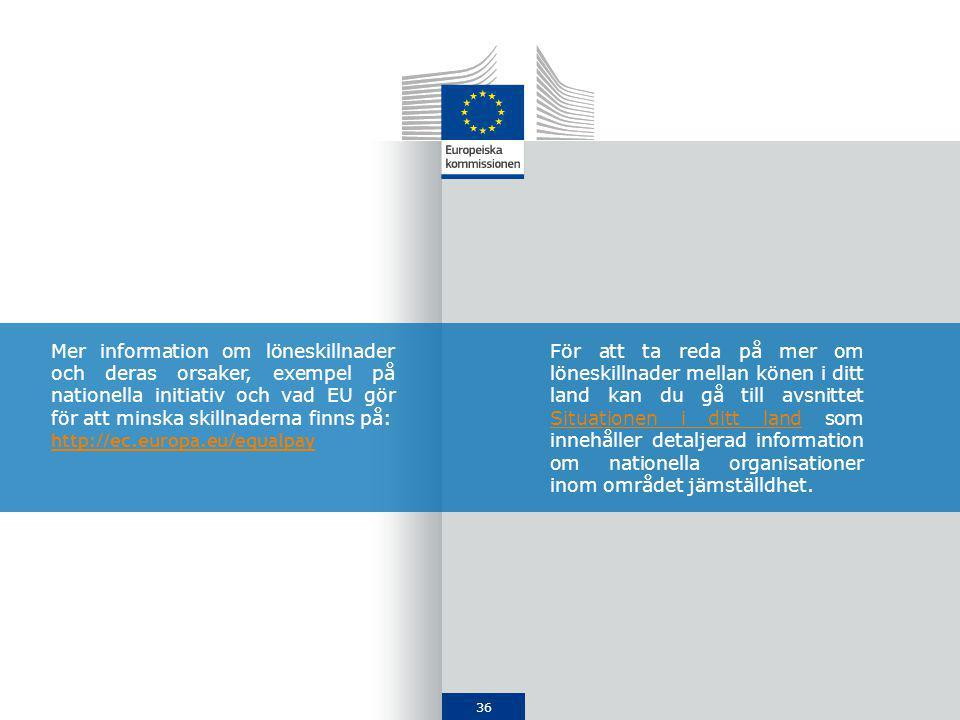36 Mer information om löneskillnader och deras orsaker, exempel på nationella initiativ och vad EU gör för att minska skillnaderna finns på: http://ec